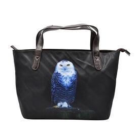 Thomas Calvi Owl Print Hand Bag (Size 39x14x23cm) - Black