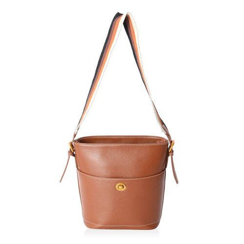 100% Genuine Leather Tan Colour Shoulder Bag with External Zipper Pocket (Size 27x23x20x11.5 Cm)