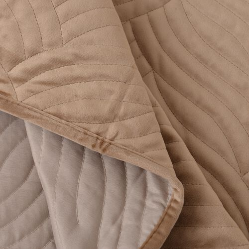 Luxury Edition - Extremely Soft Short Pile Velvet Quilt with Full Embroidery in Tan Colour (Size 260x240 Cm)