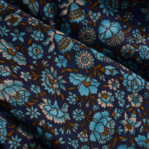 Violet,Turquoise and Multi Colour Floral Print Top (Size 80x70 Cm)