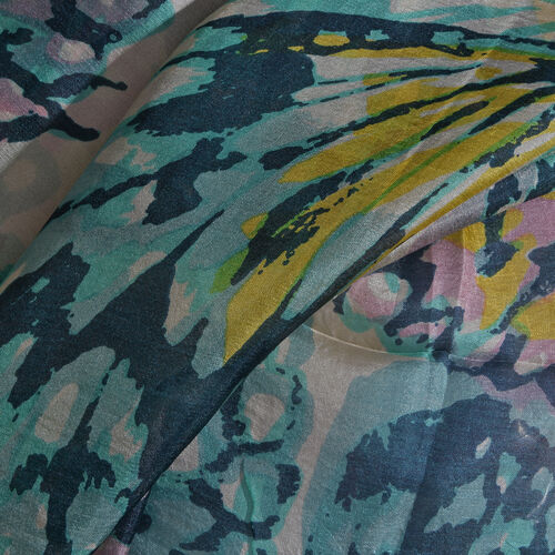 100% Mulberry Silk Turquoise, White and Multi Colour Handscreen Butterfly Printed Scarf (Size 180X100 Cm)