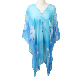 Poncho Style Summer Beach Covering in Turquoise (One Size; Length 76 cm)