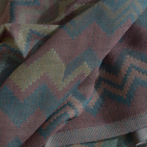 Dark Blue, Yellow and Multi Colour Jacquard Chevron Pattern Pink Colour Scarf with Tassels (Size 180x70 Cm)