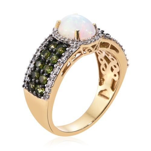 Ethiopian Welo Opal (Ovl 1.20 Ct), Russian Diopside and Natural Cambodian Zircon Ring in 14K Gold Overlay Sterling Silver 3.000 Ct. Silver wt. 5.37 Gms.