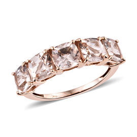 9K Rose Gold AA Marropino Morganite (Cush) Five Stone Ring 2.500 Ct.
