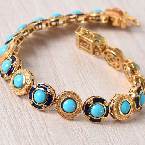 AA Arizona Sleeping Beauty Turquoise Enamelled Bracelet (Size 7.5) in 14K Gold Overlay Sterling Silver 9.00 Ct, Silver wt 21.00 Gms