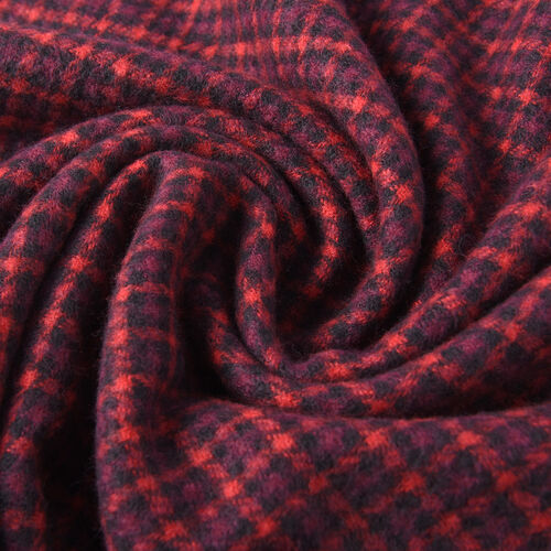 Winter Christmas Special- Designer Inspired Checkers Scarf (Size 195x88cm)- Red and Black