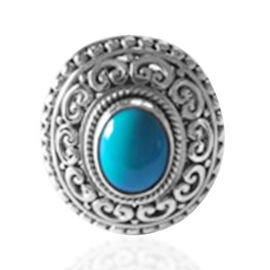 Royal Bali Collection Arizona Sleeping Beauty Turquoise Ring in Sterling Silver 2.350 Ct, Silver Wt.