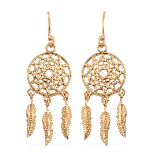 One Time Deal-14K Gold Overlay Sterling Silver Dreamcatcher Hook Earrings, Silver wt 5.40 Gms.