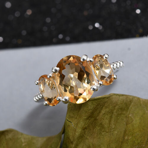 Citrine Three Stone Ring in Sterling Silver 2.16 Ct.