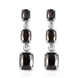 4.50 Ct Elite Shungite and Zircon Drop Earrings in Platinum Plated Sterling Silver