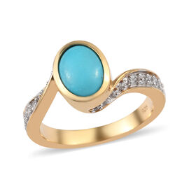 1.55 Ct AAA Arizona Sleeping Beauty Turquoise and Zircon Swirl Bypass Ring in Gold Plated Silver