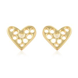 RACHEL GALLEY Yellow Gold Overlay Sterling Silver Lattice Heart Earrings (with Push Back)