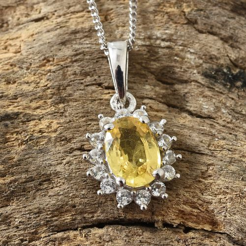 WEBEX- Yellow Sapphire (Ovl), Natural White Cambodian Zircon Pendant with Chain (Size 20) in Platinum Overlay Sterling Silver 1.250 Ct
