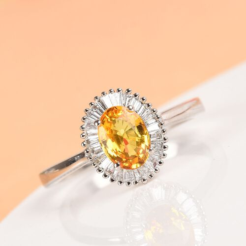 RHAPSODY 950 Platinum AAAA Yellow Sapphire and Diamond (VS/E-F) Halo Ring 1.30 Ct, Platinum Wt. 4.54 Gms
