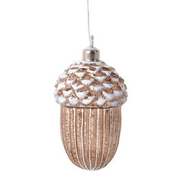 Christmas Decorations- White and Coffee Colour Acorn LED Light (Size 12.5x6.5 Cm)