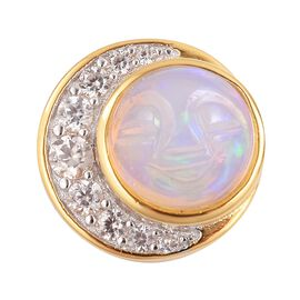 Smiling Face Carved Ethiopian Welo Opal (Rnd 1.15 Ct), Natural White Cambodian Zircon Pendant in Yellow Gold Overlay Sterling Silver 1.477 Ct.