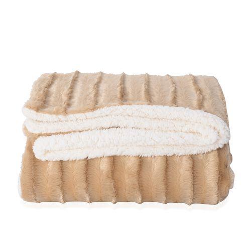 Deluxe  Collection - Golden Colour Faux Fur Sherpa Reversible Blanket (150x200 cm)
