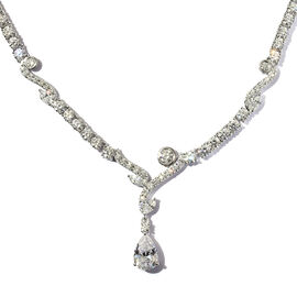 J Francis Platinum Overlay Sterling Silver Necklace (Size 18) Made with SWAROVSKI ZIRCONIA 44.13 Ct,