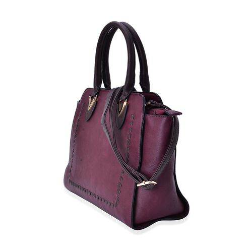 Set of 2 - Burgundy Classic Tote Bag with External Zipper Pocket (Size 30x27x11 Cm) and Crossbody Bag (Size 23x15x5 Cm) and Adjustable and Removable Shoulder Strap