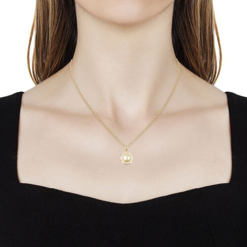 Golden South Sea Pearl (Rnd 11-11.5 mm), White Topaz Pendant With Chain (Size 18) in Yellow Gold Vermeil Sterling Silver