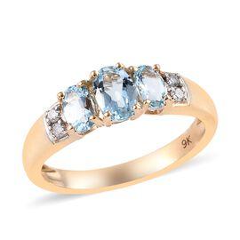 0.85 Ct Santa Maria Aquamarine and Diamond Trilogy Design Ring in 9K Gold 2.16 Grams I3 GH