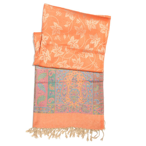 Designer Inspired-Orange, Golden, Green and Multi Colour Maple Leaf and Paisley Pattern Scarf with Fringes (Size 180x70 Cm)