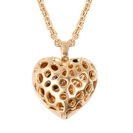 RACHEL GALLEY Tanzanite Lattice Heart Locket Pendant with Chain (Size 20 with Extender) in Yellow Go
