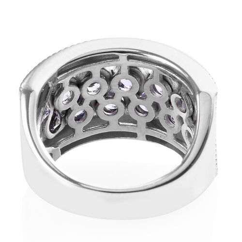 Tanzanite (Rnd) Band Ring in Platinum Overlay Sterling Silver 1.50 Ct, Silver wt 6.70 Gms