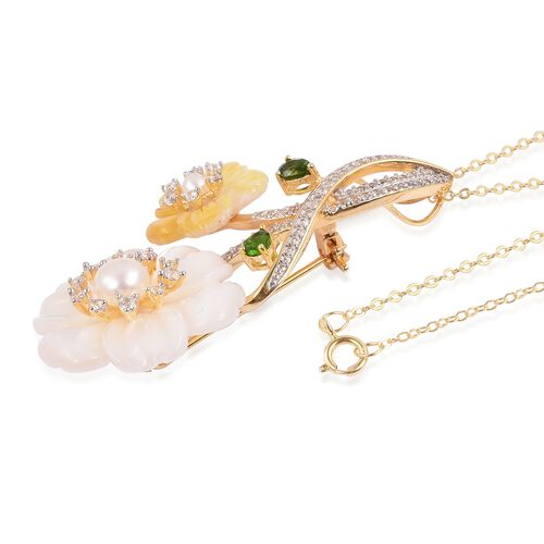 JARDIN COLLECTION - White and Yellow Mother of Pearl, Fresh Water White Pearl and Multi Gemstone Pendant Cum Brooch (Size 18) in Gold and Rhodium Overlay Sterling Silver, Silver wt. 7.60 Gms.
