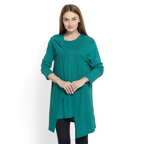 One Time Closeout Deal-Set of 2 - 100% Cotton Teal Colour Long Sleeve Tank Top (Size Small / Medium)
