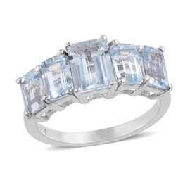 Espirito Santo Aquamarine (Oct) Five Stone Ring in Platinum Overlay Sterling Silver 3.000 Ct.