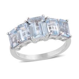 Espirito Santo Aquamarine (Oct) Five Stone Ring in Platinum Overlay Sterling Silver 3.000 Ct.