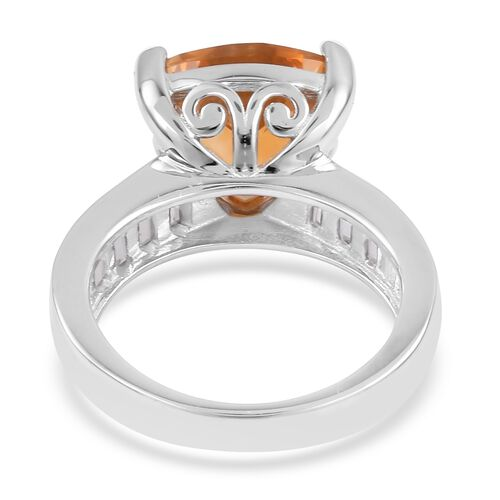 Uruguay Citrine (Trl 4.00 Ct), White Topaz Ring in Platinum Overlay Sterling Silver 5.500 Ct.