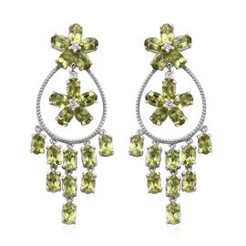 19 Ct Hebei Peridot and Zircon Chandelier Earrings in Platinum Plated Sterling Silver 14.83 Grams