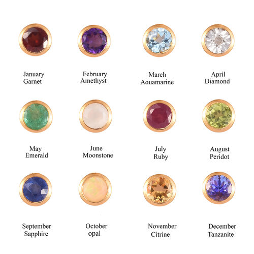 Personalise Engraved Birthflower and Name Disc with Birthstone Pendant