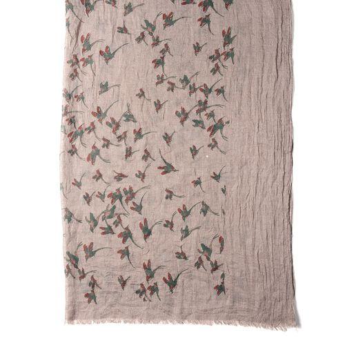 Brown Colour Bird Pattern Scarf (Size 178x100 Cm)