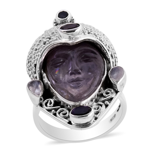 Sajen Silver GODDESS Collection- Amethyst and Multi Gemstone Devi Danu Handcarved Ring in Sterling S