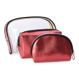 Set of 3 - 1 Transparent and 2 Solid Metallic Red Colour Cosmetic Bag with Zipper Closure