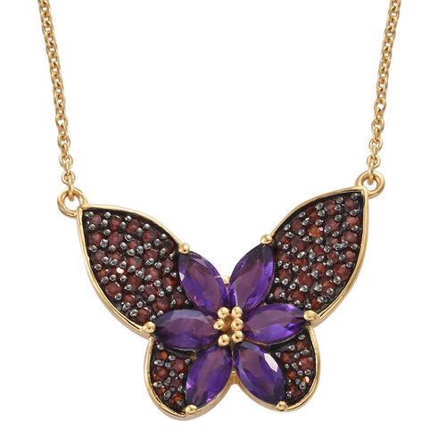 GP Amethyst (Mrq), Mozambique Garnet, Kanchnaburi Blue Sapphire Necklace With Chain (Size 18) in 14K