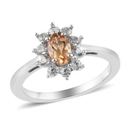 1 Carat Golden Imperial Topaz and Zircon Halo Ring in Platinum Plated Sterling Silver