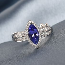 GP Premium Tanzanite, Natural Cambodian Zircon and Blue Sapphire Ring in Platinum Overlay Sterling Silver 1.30 Ct.