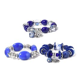 Set of 3 Lapis Lazuli and Multi Colour Simulated Diamond Stretchable Bracelet (Size 7.50)