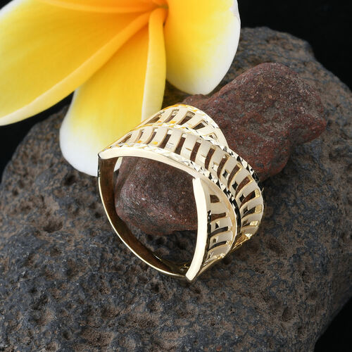 Surabaya Gold Collection - 9K Yellow Gold Criss Cross Ring, Gold wt 3.31 Gms.