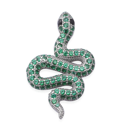 ELANZA Serpent Collection- Simulated Peridot and Simulated Black Spinel Serpent Pendant in Rhodium O