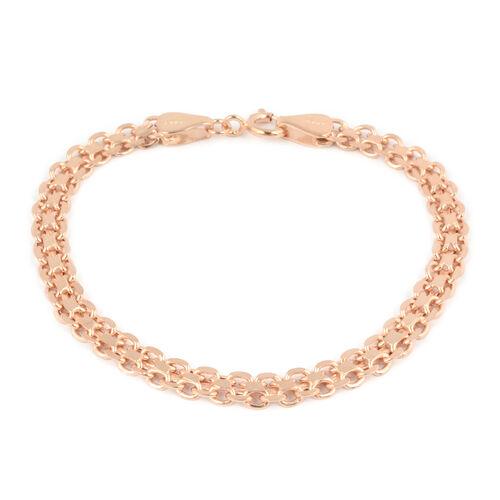 Rose Gold Overlay Sterling Silver Bracelet (Size 7.5)