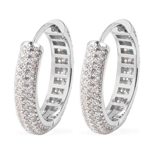Cambodian Zircon Hoop Earrings in Rhodium Plated Silver 7.05 Grams