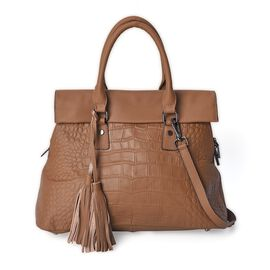 One Time Close Out Deal- 100% Genuine Leather Croc Embossed Flap Bag with Detachable Shoulder Strap