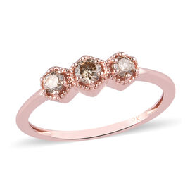 9K Rose Gold SGL Certified Champagne Diamond (I3) 3-Stone Ring 0.33 Ct.