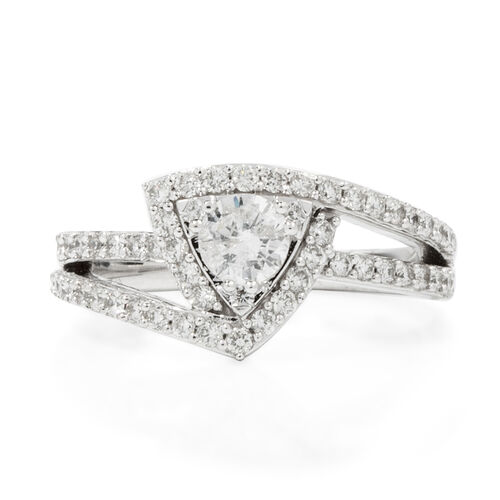 2 Piece Set -New York Close Out 14K White Gold Diamond (Rnd) ( I1-I2/G-H) Ring 1.200 Ct, Gold wt 6.60 Gms.